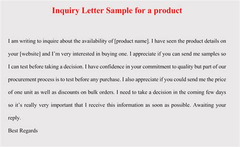 format  inquiry letter  product service