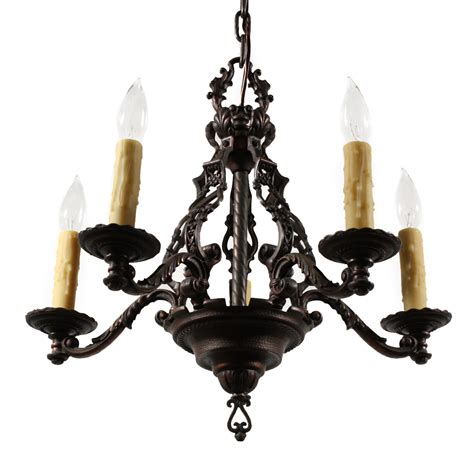 magnificent antique figural five light chandelier cast