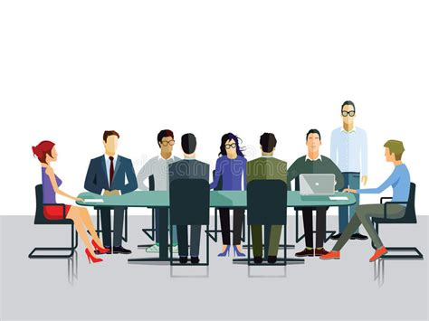 Group Discussion In Office Stock Vector. Illustration Of