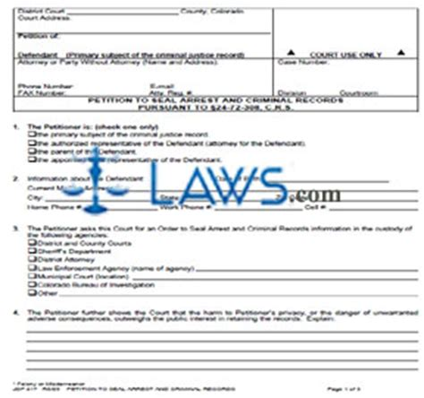 petition to seal form arkansas petition to seal arrest criminal records legal forms