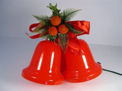retro red plastic lighted christmas bells