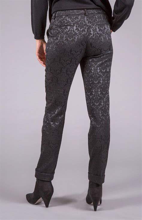 angelico black shiny damask trousers  woman