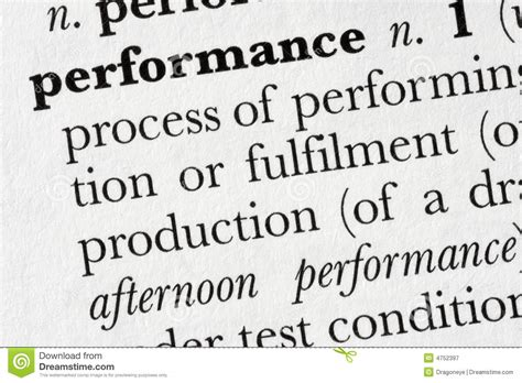 Performance Word Dictionary De Stock Image
