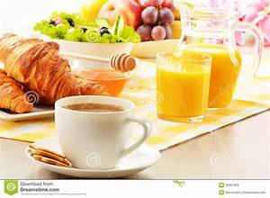 Breakfast With Coffee, Orange Juice, Croissant, Egg