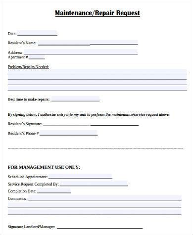 sample maintenance request forms   ms word