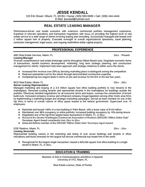 Leasing Resume Templates by Commercial Property Manager Resume Sles Building