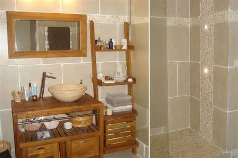 salle de bains avec galets et carrelage noir recherche d 233 coration maison