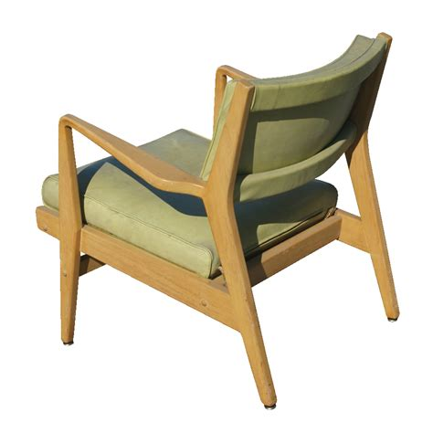 vintage jens risom wood lounge arm chair