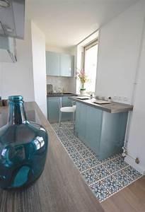idee relooking cuisine cuisine bleu acier vintage With idee deco cuisine avec bahut vintage scandinave