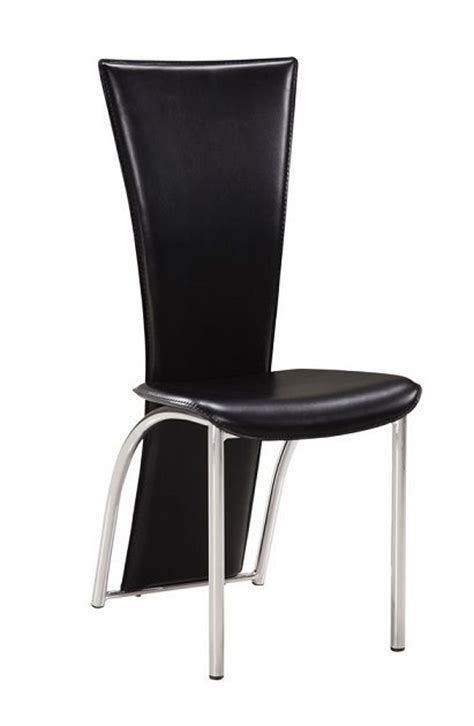 leatherette high back dining chair with metal legs ta