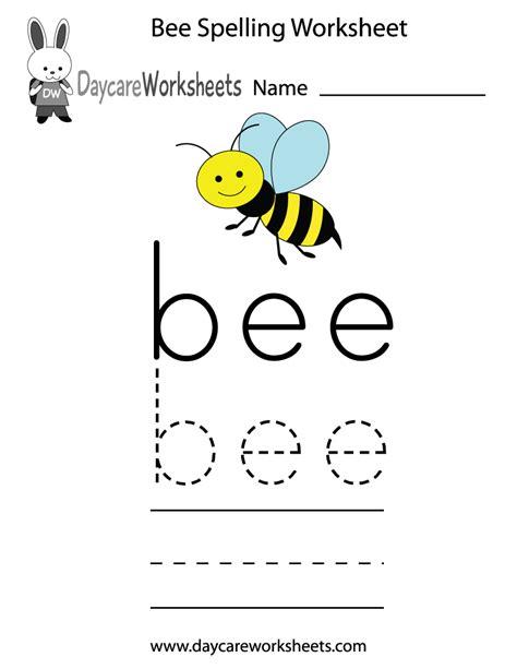 preschool bee spelling worksheet