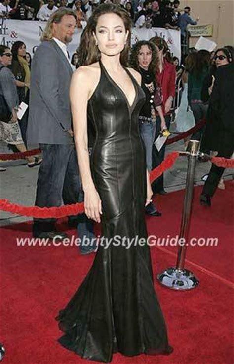angelina jolie wearing versace black leather dress