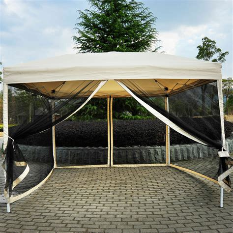 outdoor gazebo canopy    pop  tent mesh screen patio shade tan ebay