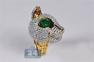 womens emerald cat ring 18k yellow gold 7 14 ct