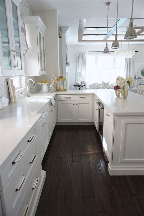 kitchen floors and countertops kitchen peninsula with white quartz countertop and 4869