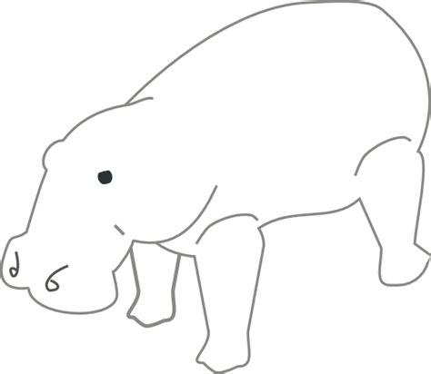 hippo outline animal clip art  clkercom vector clip