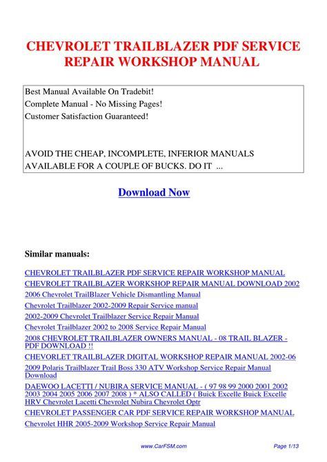 how to download repair manuals 2007 chevrolet trailblazer transmission control chevrolet trailblazer service repair workshop manual by hui zhang issuu