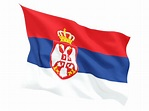 Fluttering flag. Illustration of flag of Serbia