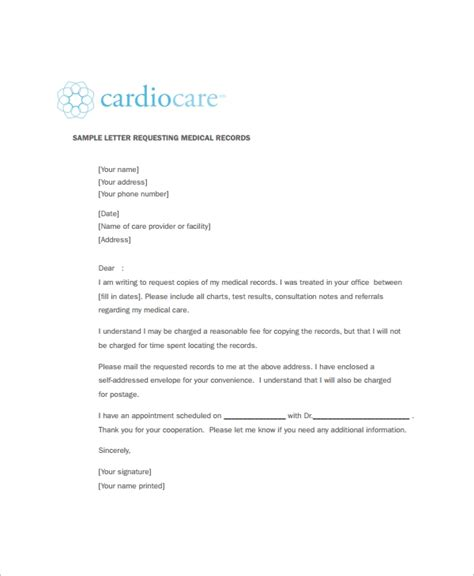 medical records request forms  samples examples