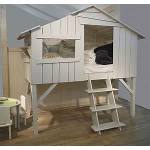 Tete De Lit Cabane : lit enfant cabane en bois avec escalier ~ Melissatoandfro.com Idées de Décoration