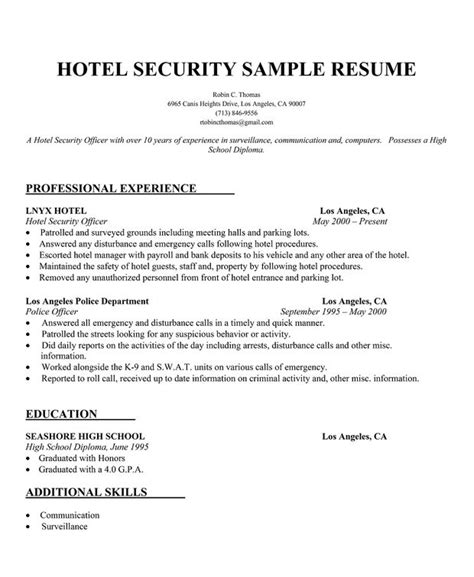 Hotel Resume by Hotel Security Resume Sle Http Resumecompanion