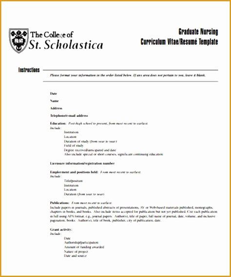 Curriculum Vitae Nursing Template by 5 Nursing Curriculum Vitae Templates Free Sles