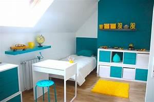 decoration chambre enfant bleu et jaune With quelle couleur avec le jaune moutarde 18 meuble rangement salle de bain blanc