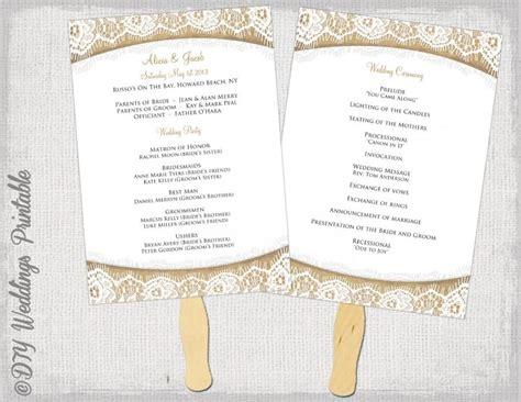diy wedding program fans template wedding program fan template rustic quot burlap lace quot diy