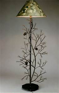 Wrought iron pine cone floor lamp winnipesaukee forge for Pine cone torchiere floor lamp