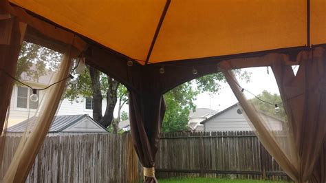 allen roth brown rectangle screened gazebo rainy day review youtube
