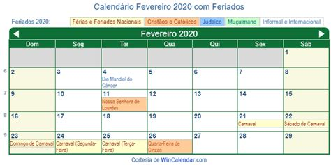 calendario fevereiro imprimir brasil