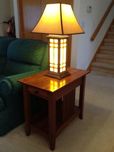 Luxurious Oak End Table With Attached Lamp Table Lamp End