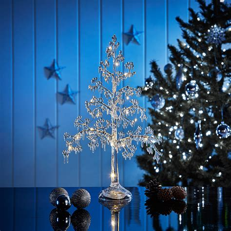 table top christmas tree in pleiglass with falling snow led acrylic tree