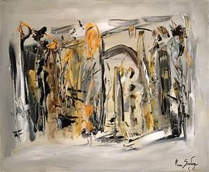 Tableau Moderne Noir Et Blanc : tableau contemporain moderne gris abstrait ame sauvage ~ Teatrodelosmanantiales.com Idées de Décoration