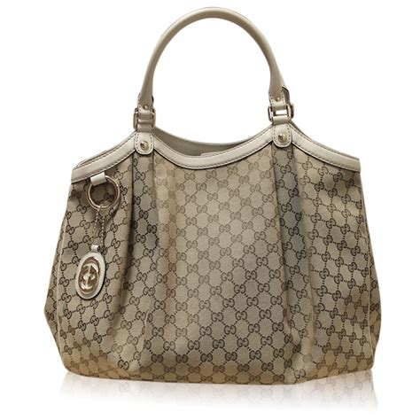 gucci sukey monogram canvas  white leather large tote