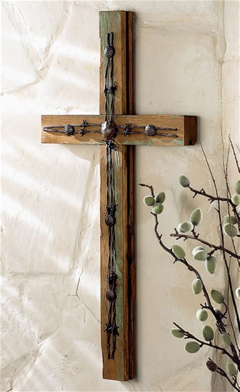 wood cross  barbed wire