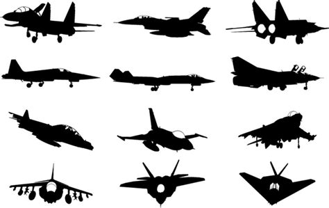 Almost files can be used for commercial. Pesawat Militer Silhouette Vector Pack-siluet Vektor ...