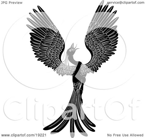 clipart illustration   majestic black phoenix fantasy bird opening  wings