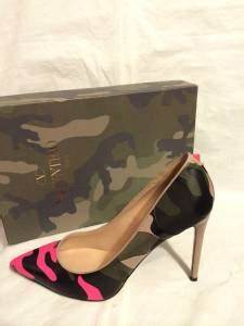 Valentino Neon Camo Leather Rockstud Studded Pointed Toe