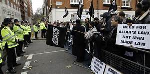 London embassy protesters demand sharia law amid ...