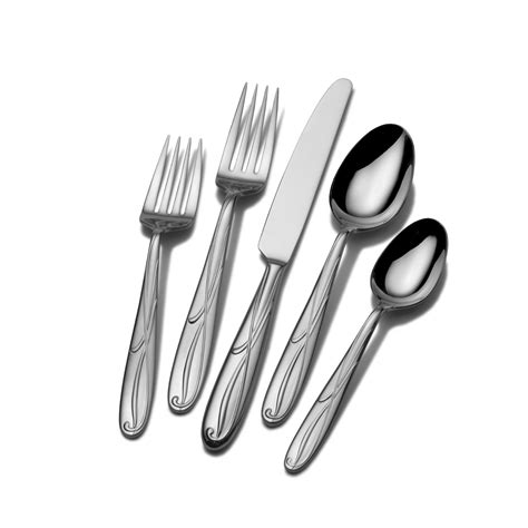 flatware mikasa 65 blossom steel stainless piece cocoa sets service dining table cutlery pc silverware fork serveware spoon setting spoons