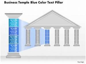 0914 Business Plan Business Temple Blue Color Text Pillar Powerpoint Presentation Template