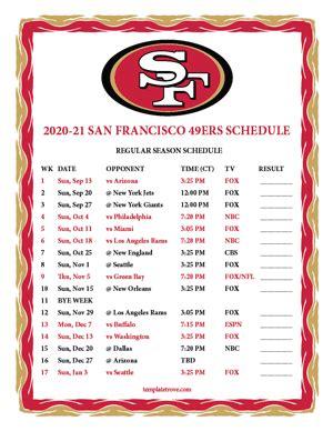 printable   san francisco ers schedule