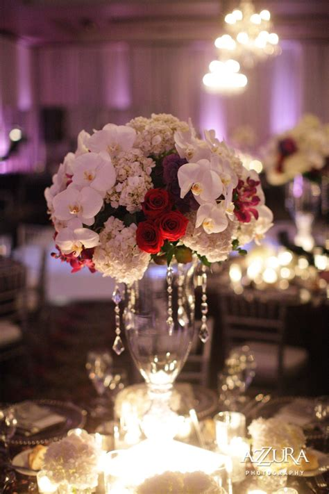 White Orchid And Hydrangea W Red Rose Tall Centerpiece W