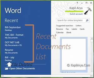 Fix word 2013 doesn39t show recent documents list correctly for Recent documents word 2013
