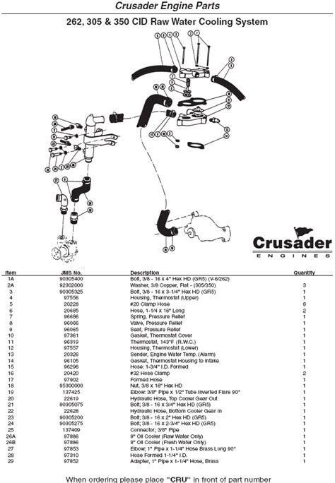 crusader engine parts raw water cooling system