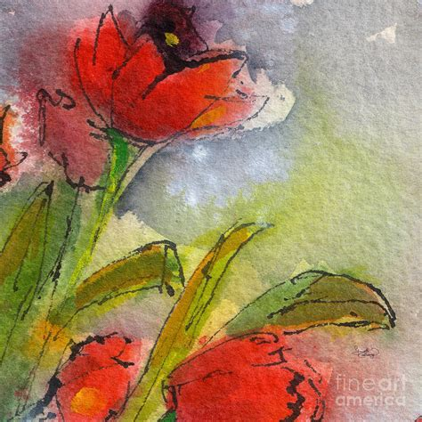 abstract modern tulips watercolor painting by ginette