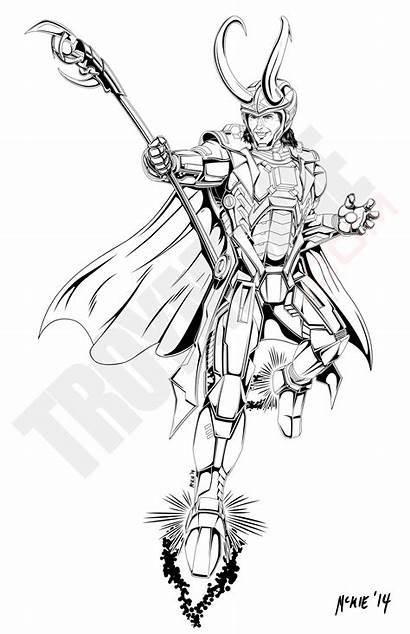 Loki Digital Illustration Line Trickster Marvel Comic