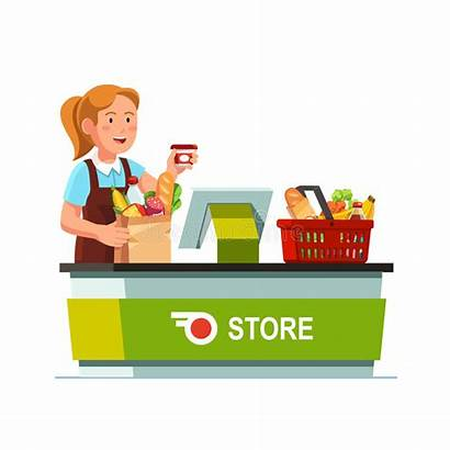 Grocery Counter Cashier Checkout Working Clerk Sales