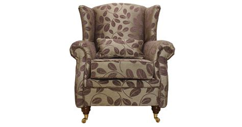 Wing Chair Fireside High Back Armchair Orchard Leaf Cocoa